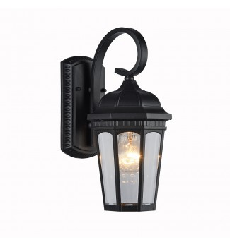 Mimosa 1-Light Black Outdoor Wall Sconce Lantern with Multi Panel Beveled Glass