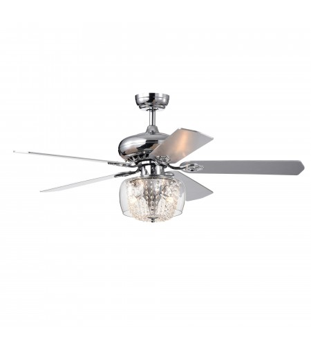52 in Indoor Chrome Reversible Ceiling Fan with Glass Crystal Strand Light Kit
