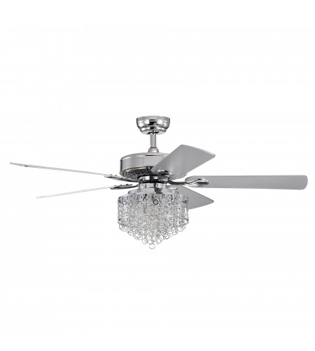 52 in Indoor Chrome Reversible Ceiling Fan with Crystal Cascade Light Kit