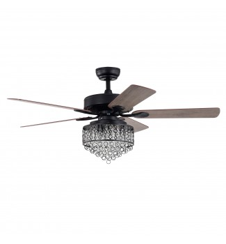 52 in Indoor Matte Black Reversible Ceiling Fan with Crystal Cascade Light Kit