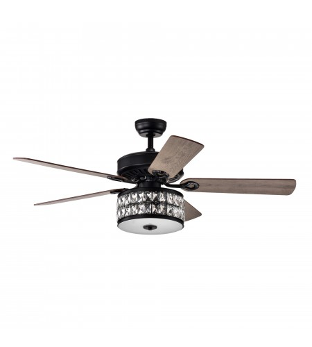52 in Indoor Matte Black Reversible Ceiling Fan with Crystal Light Kit
