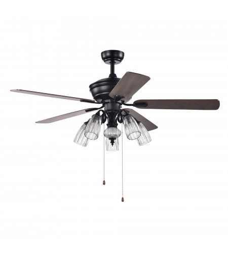 52 in Indoor Black/Brown Reversible Ceiling Fan with Clear Beveled Glass Light